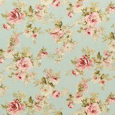 Roses Derby 2 - lichtblauw - Decoratiestoffen rozen - Landhuisstijl - Stoffen - stoffen.net