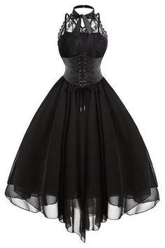 Black Gothic With Corset Dress #CorsetDress #Gothic
