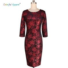 Colorful Apparel Women's Elegant Floral Print Vintage Fitted Casual Stretch Formal Party Sheath Bodycon Pencil Dress
