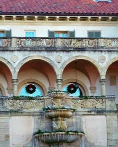 fountain on a building? face