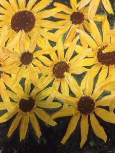 Black-eyed Susans using gouache and acrylics