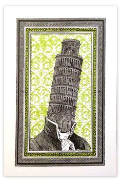 """Mr. Pisa"" by Nate Duval. 13″ x 19″ Screenprint. Ed of 40 S/N."