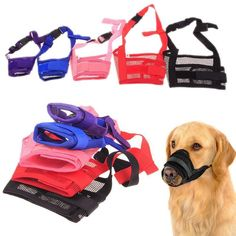 Pet Dog Adjustable Mask Bark Bite Mesh Mouth Muzzle Grooming Anti Stop Chewing #Affiliate