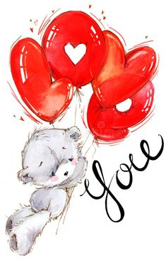 Illustration about Teddy bear. Love you card. Illustration of calligraphy, greeting, card - 83284303 Valentines Watercolor, Valentines Day Drawing, Valentines Day Wishes, Watercolor Cards, Watercolor Background, Valentines Diy, Illustration Inspiration, Teddy Bear Pictures, Bear Drawing