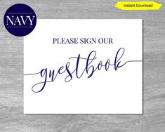 Navy Please Sign Our Guestbook Sign. Have an elegant and chic sign that lets your guests know to sign your guest book. This lovely guestbook sign has a classic navy blue font. Perfect for a Nautical Baby Shower or Nautical Bridal Shower. Navy Bridal Shower, Nautical Bridal Showers, Disney Bridal Showers, Tropical Bridal Showers, Summer Bridal Showers, Bridal Shower Signs, Bridal Shower Rustic, Nautical Baby, Navy Baby Showers