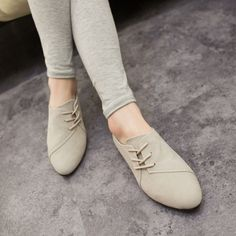 2015 Hot Selling Spring Casual Women Shoes Women Nubuck Leather lace-Up Flat Shoes Handsome Head Toe Shoes 375