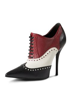 Gucci Tricolor Perforated Oxford Pump