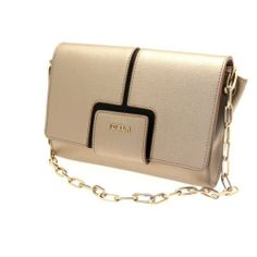 Furla Zizi S Pochette Tracolla Leather Clutch in Champagne, Beautiful and elegant evening bag from Furla. Small Furla flap folds down for the front Flap to open. Inside has tan suede under the flap and black logo lining inside the bag.  Gold toned hardware, #Apparel, #Evening Bags
