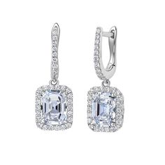 Rectangular Asscher Cut Earrings with Halo by LAFONN in Platinum-Bonded Sterling Silver and Simulated Diamonds, MSRP $210.  4.28CTTW