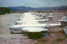 """british-eevee: """" Gloster Meteor jet fighters lined up at a airbase in Korea (Date unknown) """" Military Jets, Military Aircraft, Fighter Aircraft, Fighter Jets, Gloster Meteor, South African Air Force, Australian Defence Force, Navy Aircraft, Korean War"""