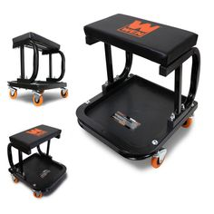 Rolling Work Shop Mechanic Stool Cart Tray Onboard Storage Hold Up To 250 Pounds #WEN