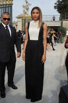 Ciara: shows up at Valentino show in Paris in 1 of chic black & white creations