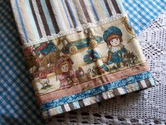 Home towel for kitchen. Vintage dolls and toys.