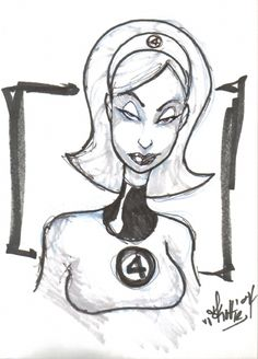 Invisible Woman of the Fantastic Four by Skottie Young Comic Art