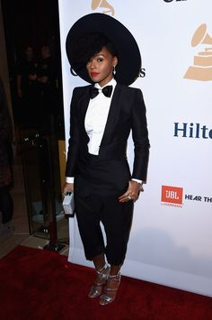 Janelle Monae's amazing tux and bowtie at the Pre-Grammy Gala.
