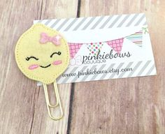 Pink/Yellow/Girlie Lemon/Felt Applique Paper Clip/Planner Clip/Journal Marker/Bookmark by pinkiebows on Etsy