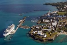 Royal Naval Dockyard, Bermuda was the principal base of the Royal Navy in the Western Atlantic between American independence and the Cold War.  Now utilized for cruise ships visiting the island during it's cruise season which runs from April to November.