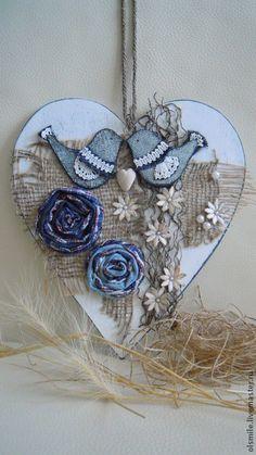 Купить Любовь живёт во всех сердцах.Панно на стену. - синий цвет, белый цвет