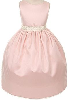Elegant Charmeuse Gem Pearl Trim Big Girl Flower Girls Dresses 32KD6 Blush 14 >>> Check out the image by visiting the link.