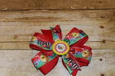 M & M Candy Hair Bow - Girls Boutique Style Red ribbon Hair Bow/Barrette/Clip hair bow