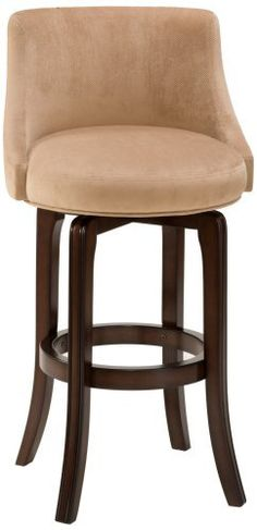 """Napa Valley Khaki 25"""" High Swivel Counter Stool by Hillsdale. $279.00. Textured khaki upholstery.. Armless design.. Swivel seat.. 36"""" high.. Dark brown cherry finish.. A sophisticated counter barstool design with a padded back and seat to provide maximum comfort. This lovely counter stool features delicate khaki upholstery with a soft, textured feel. The wooden frame is finished in a dark brown cherry color to create an elegant color contrast. Perfect for kitchen counter or bar use."""