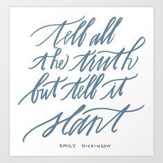 Emily Dickinson (Calligraphy) Art Print by Bluestocking Calligraphy | Society6 | $25