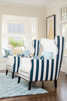 Interiors by Pulp Design Studios | Bernhardt Kingston Wing Chairs, customized in blue and white