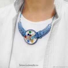 Купить Колье  Леденцы в кармане из полимерной глины и стекла - полимерная глина, цветное стекло, джинсовый