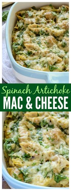 Everyone's favorite Spinach Artichoke Dip in Mac and Cheese form! A super cheesy, decadent, all-in-one dinner that's surprisingly good for you. (make ahead mac and cheese) Cheese Recipes, Pasta Recipes, Cooking Recipes, Healthy Recipes, Casserole Recipes, Couscous Recipes, Tilapia Recipes, Tofu Recipes, Mexican Recipes
