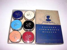 6 Vintage Carters Ideal Typewriter Ribbon Tins Set in Original Box Powder | eBay