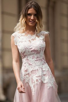 dust pink floral lace appliques mini tulle prom dress