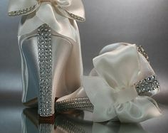 Wedding Shoes -- Ivory Peeptoe Wedges with Silver Rhinestones Strip on Heel and Matching Bow