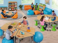Top-quality classroom furniture—from traditional chairs & tables to mobile desks & other flexible seating options! Daycare Design, Classroom Design, School Design, Classroom Decor, Kids Church Rooms, Kids Church Decor, Kindergarten Design, Kindergarten Tables, Classroom Furniture