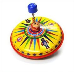 tin toys wind up 80s metal spinning top blue yellow(import from Hong Kong):Amazon:Toys & Games