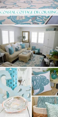 Coastal Cottage Decorating in Aqua & White Love the sea inspired pillows- specifically the turtle one!