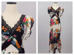 Floral and Black Lace Scarf Dress  Summer by TheBirdcageVintage