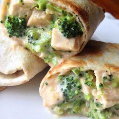 """Creamy Chicken & Broccoli Oven Baked Tortilla Wraps! Hot delicious wraps! Recipe 1 cup skim milk 1 oz low fat cream cheese, cut into 1/2 in cubes 1/2…"""