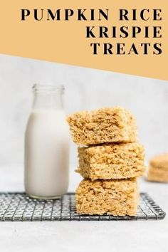 Get ready for fall with these gooey and delicious pumpkin rice krispie treats Best Brownie Recipe, Brownie Recipes, Chocolate Recipes, Pumpkin Pancakes, Pumpkin Puree, Pumpkin Spice, Pumpkin Rice Krispie Treats, Rolled Sugar Cookies, Trifle Pudding