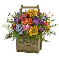 Nearly Natural ArtificialMixed Floral Arrangement in Wood Basket at Lowe's. From pink, to blue, orange, and yellow blooms, the artificial mixed floral arrangement will bring the light of spring indoors. Rich green leaves stick out Basket Flower Arrangements, Artificial Floral Arrangements, Silk Arrangements, Flower Baskets, Creative Flower Arrangements, Flower Arrangement Designs, Fake Flowers, Artificial Flowers, Silk Flowers