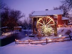 dailypictures.info  Red Mill At Christmas Parfreyville Wisconsin