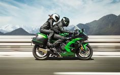 Download wallpapers Kawasaki Ninja H2 SX, 2018, Supercharged, 4k, sports bike, riding together, Kawasaki