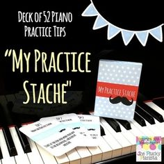 My Practice Stache: Deck of 52 Piano Practice Cards Plus Box. Give your students some fun new ways to practice, and watch their practice skills improve from week to week!