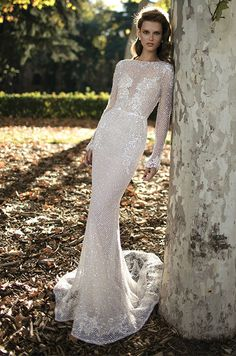 Berta netting-covered wedding dress with long lace sleeves, Berta Spring 2016 Bridal Collection