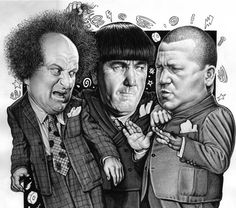 The Three Stooges - Larry Fine, Moe Howard, and Curley Howard. The Stooges, The Three Stooges, Pop Culture Quiz, Black White Tattoos, Abbott And Costello, Classic Comedies, Classic Cartoons, Classic Tv, Funny Faces