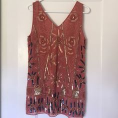 Free people sequin mini dress Beautiful pink sequin free people dress! Perfect for summer parties. Would look great with gold jewelry. Free People Dresses Mini