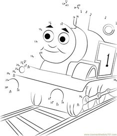 Thomas Tank Engine Connect Dots - Printable Coloring Pages Teddy Bear Coloring Pages, Panda Coloring Pages, Minnie Mouse Coloring Pages, Princess Coloring Pages, Coloring Pages To Print, Printable Coloring Pages, Coloring Sheets, Visual Perception Activities, Dot To Dot Printables