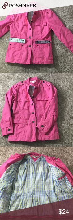 Adorable pink Tommy Hilfiger barn jacket small !! This barn jacket is adorable Tommy Hilfiger with the cutest pattern on the inside. Spring through winter if not too cold.  It fits adorable not boxy like most barn jackets.  In perfect shape you will get so many compliments on this coat Tommy Hilfiger Jackets & Coats