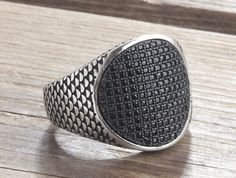 925K Sterling Silver Gemstone Men Ring With Natural Black Onyx #IstanbulJewellery #Statement