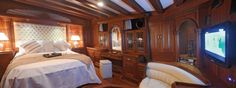 Luxury gulet Mare Nostrum double guest room | by Durukos Yachting