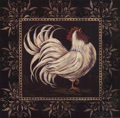 Framed Black & White Rooster I Print